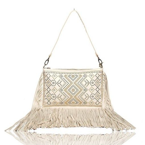 White Fringe Clutch Crossbody