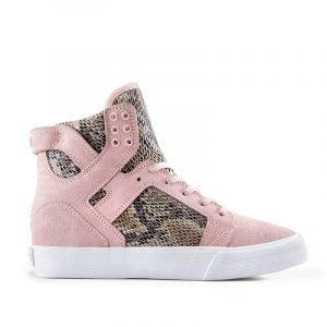 SKYTOPWEDGE_Pink Suede_High Top Sneaker