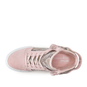 SKYTOPWEDGE_Pink Suede_High Top Sneaker_Top View