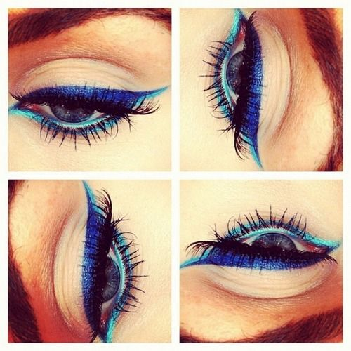 green and blue cat eye makeup