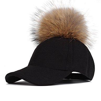 34f684de48 Fur Pom Pom Baseball Cap - Black - Cat Eyes   Candy - Fashion ...