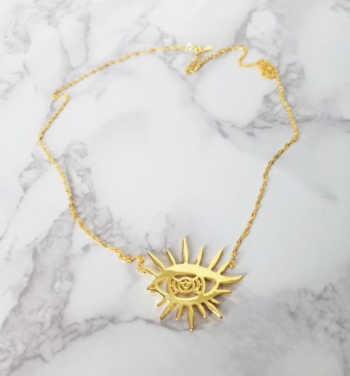 Solar Eye Necklace - Gold