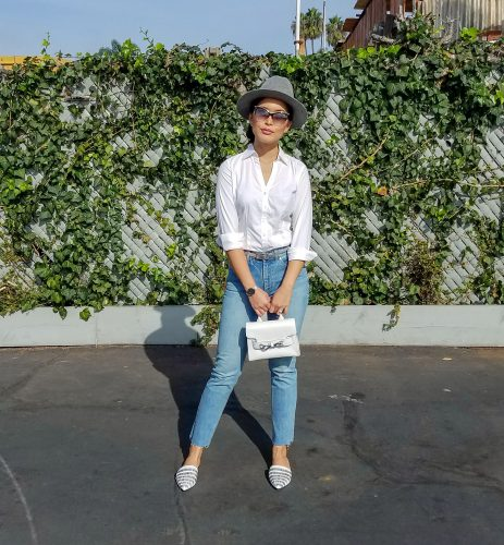 white buttonup ootd