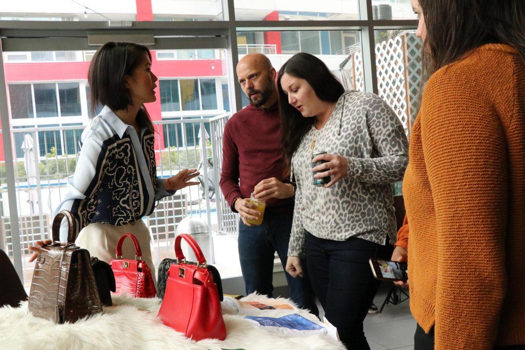 Nancy Hue Handbags - Personalized Leather Handbags - Handbag Display