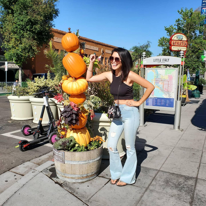 Who helped the mini pumpkin cross the road? The crossing gourd🤣🤣 pumpkin decor in full effect in Little Italy🙂 Happy Halloween!